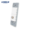 Livolo US TV Satellite Socket With White Pearl Crystal Glass wall socket outlet without panel 220V VL-C5-1ST-11