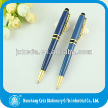 2014 high quality sapphire blue metal twist tube pen with brooch clip