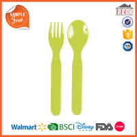BPA Free Baby Use Solid Color Plastic Melamine Spoon & Fork