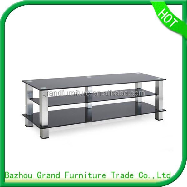2017 Hot sale modern glass TV stand with aluminum tube