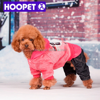 HOOPET cute pink velvet jumpsuit for pet dog fall/winter dog jumper buy sale clothes