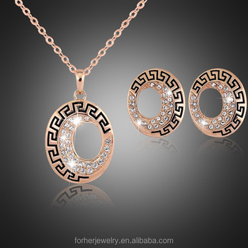 2015 New 18k Gold Plated Necklace And Earrings Set Luxury Gold Plated Cz Crystal Heart Jewelry Sets For Women Engagemen SKJT0109