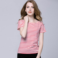 Bulk Lady Blouse Latest Design Girls Top Striped 100% Cotton T Shirt Wholesale China
