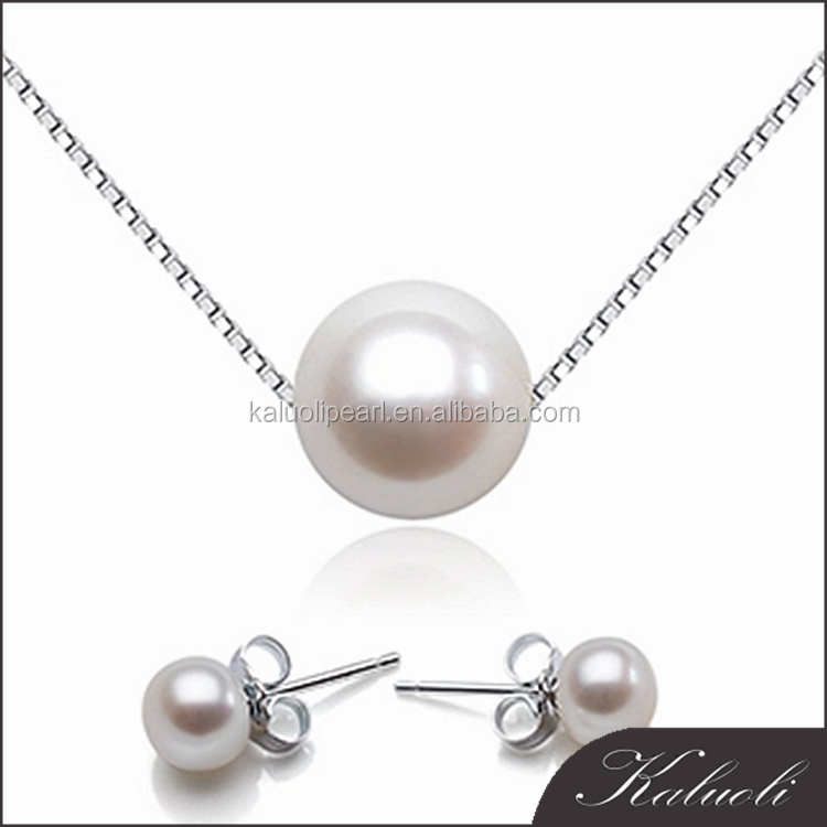 Cheap s925 sterling silver natural freshwater pearl necklace and earring sets