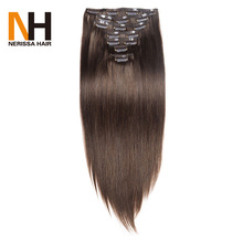 Remy Hair Clip In Human Hair Extensions Straight Full Head Set 7pcs 70g/set #4 Chocolate Brown Color Hair