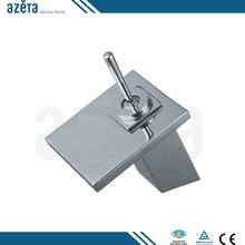 Modern Brass Square Waterfall Bathroom Tap Basin Faucet
