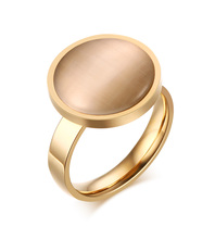 Japan and South Korea fashion beautiful jewelry, stainless steel opal golden ring, lady's jewelry YSS489
