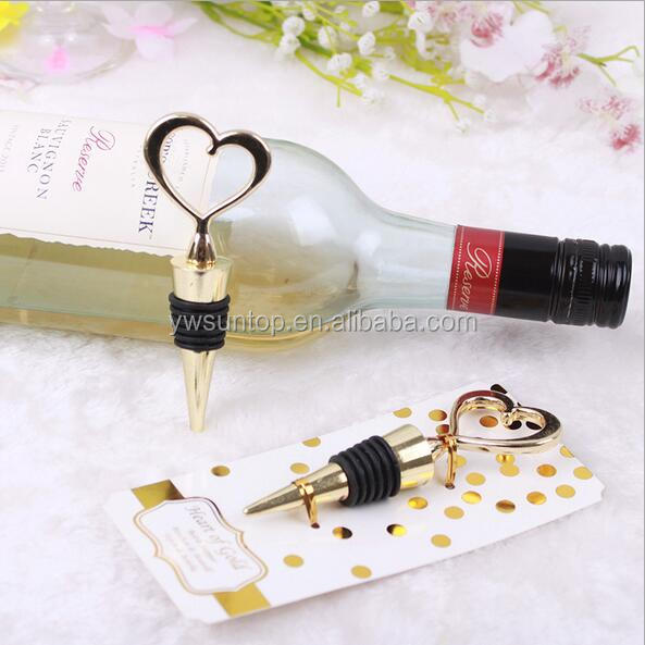 "New Arrival Fashion Wedding Gifts ""Heart of Gold"" Bottle Stopper"