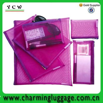 china direct factory custom practical mesh bulk cosmetic bags for promotion