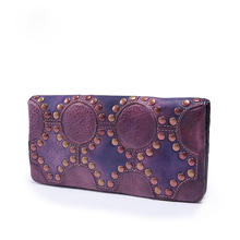Clutches for Women Handmade Leather Wallet Genuine Cowhide Leather Vintage Purse with Cell Phone Pocket