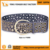 Factory sale ladies girls fashion waistband nickel free pin buckle vintage wide belt studs women eyelets studded belt