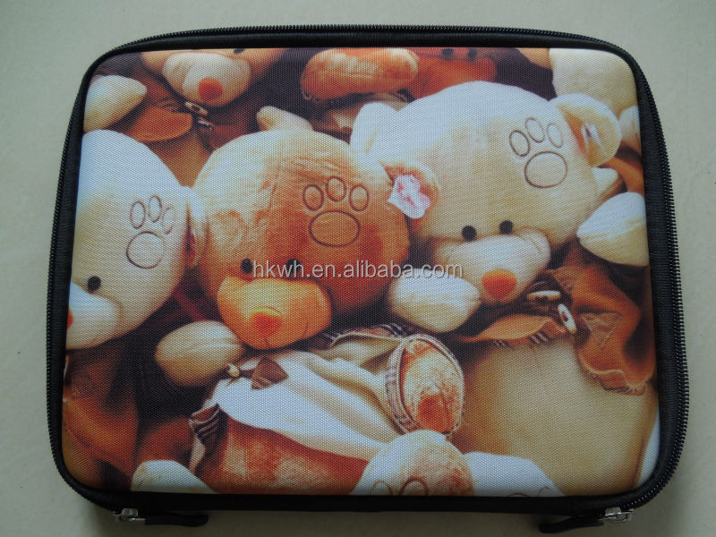 Euro Wind Cartoon Bear Printing PU Leather Nylon Zipper Stand Cases for tablet ipad mini 2 Samsung Tab 7""