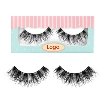 100% Primier Human hair handmade false eyelash own brand fake eyelashes