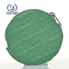 Small green round leather coin purse