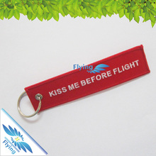 Factory directly design your own eva embroidered insert before flight embroidery keychain