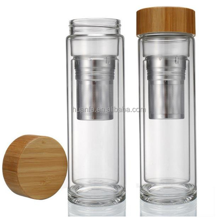 400ml Bamboo lid high borosilicate double wall unbreakable glass water bottle with tea strainer inside