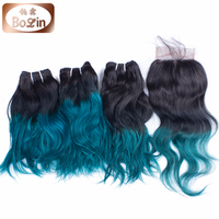 Alibaba express Brazilian human hair bundles with closure two tone 1b Green ombre hair extension lace closure