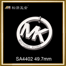 Manufacturer selling silver metal mk logo,mk handbag metal tags