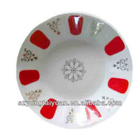 "2.75"" small porcelain dessert with gold and red design"