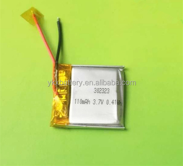 Customized 302323 3.7v 110mah polymer lithium battery for smartwatch