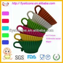 Colorful Silicone Tea Cupcake Baking Cups With PP Saucer