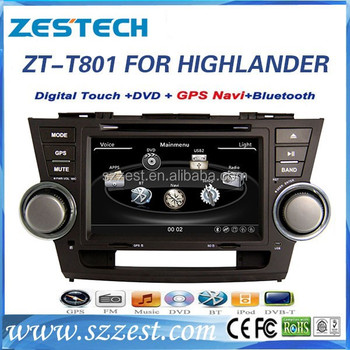 ZESTECH Shenzhen manufactory car dvd for Toyota highlander with GPS, TV, radio, bluetooth
