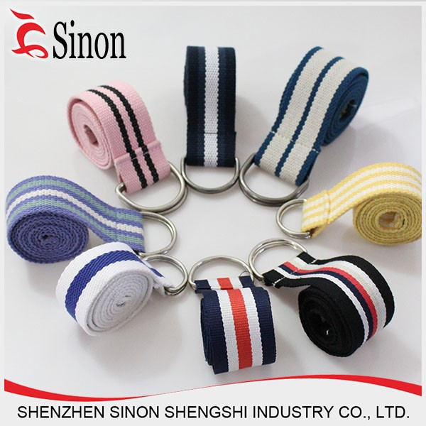 woven brand name belts with satin ribbon polyester belt