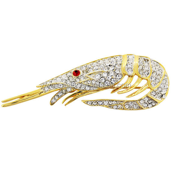 P168-815 fancy l women crystal rhinestone fashion accessories gold aquatic shrimp brooch pins