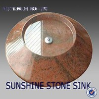 Round Shape Multicolor Red-Ufo-Art Sink , Granite Countertop Stone Sink , Small Wash Hand Basins
