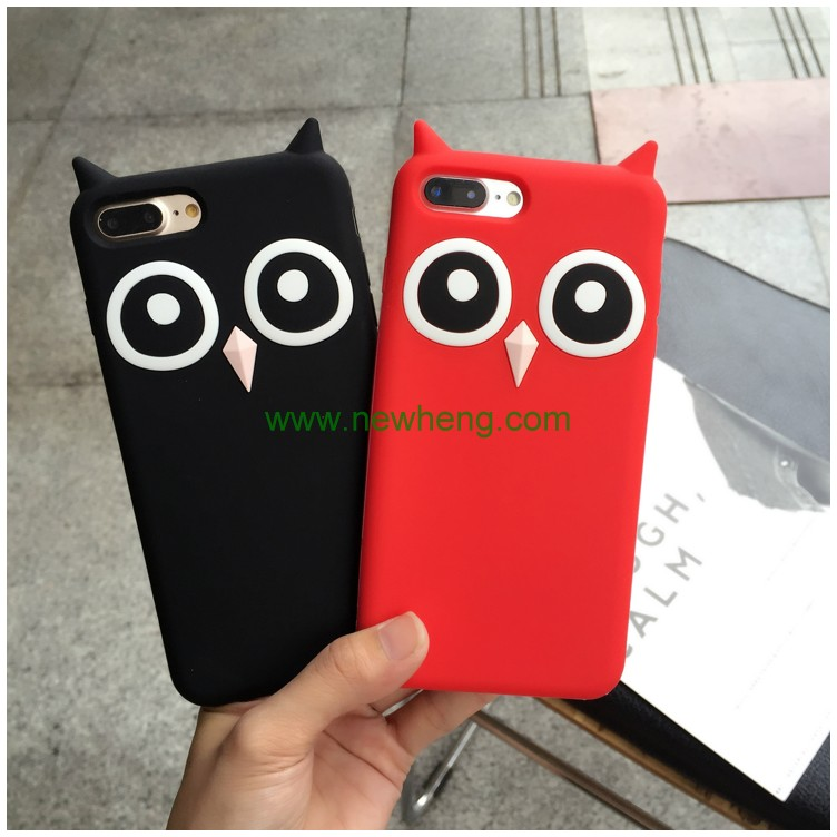 Hot selling 3D owl cartoon silicone cover phone case for iphone 7 8