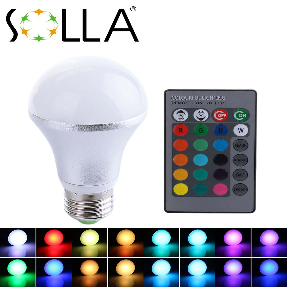Express Free shipping New <strong>5W</strong> RGB <strong>Led</strong> Bulb E27 Silver Case AC 85-265V <strong>led</strong> Bulb <strong>Lamp</strong> with Remote Control multiple colour <strong>led</strong> light