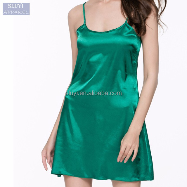 ladies satin nighties 2017 Fashion Summer Sleepwear Women Sleeveless shiny satin frock design sexy night sleeping dress