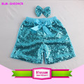Wholesale boutique baby girl sequin shorts kids summer bow shorts for children