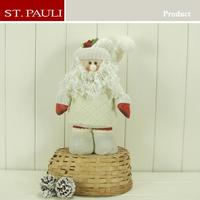 12inch white standing santa doll new promotional christmas items wholesale fiber optic christmas santa claus plush toys