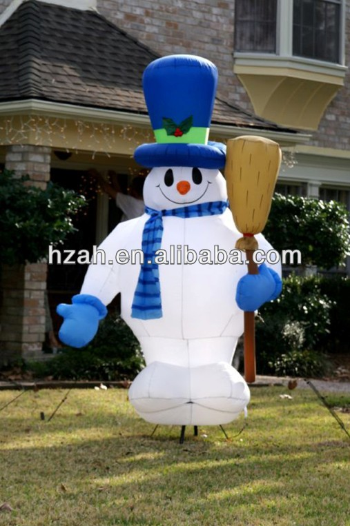 Blue Inflatable Snowman with Broom