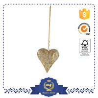 Golden Rose Antique Metal Heart Wall Hanging Decoration Decor