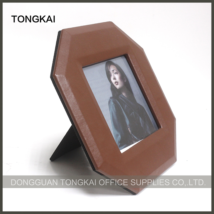 Hexagon brown leather digital photo frame in European style