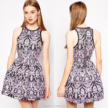 Cheap Wholesale Round Neck Sleeveless Fashion Embroidered Printed Girls Dress