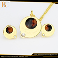 elegant resin round shape jewelry set stainless steel for unisex