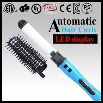 Lcd display dual voltage automatic rotating curling iron with removable comb
