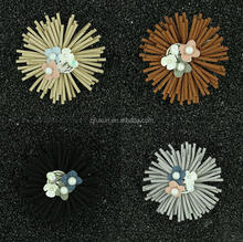 Handmade cloth collar woolen tassels brooch hot sale leather flower brooches