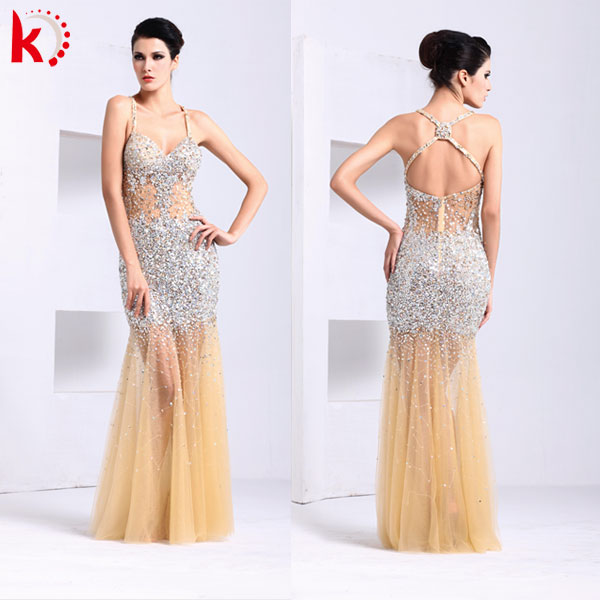 New fashion for sexy lady a line bridal gown 2014 alibaba wedding dress long side slit evening dress