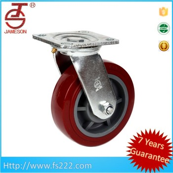 5 inch heavy duty pu caster wheel red pu