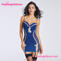 Newly Noble Blue Spaghetti Strap Plus Size Sexy Playboy Babydoll Lingerie