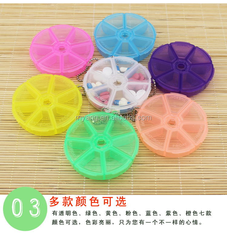 round weekly Mini box _7 week pill box rotary cover kits /PP plastic pill box/Medical capsule holder