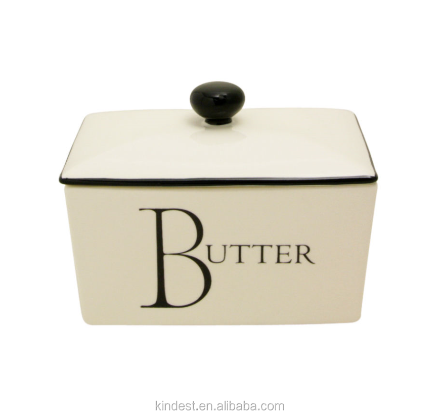 500g Butter Spread Marg Dish Holder with Lid Cream Black for UK