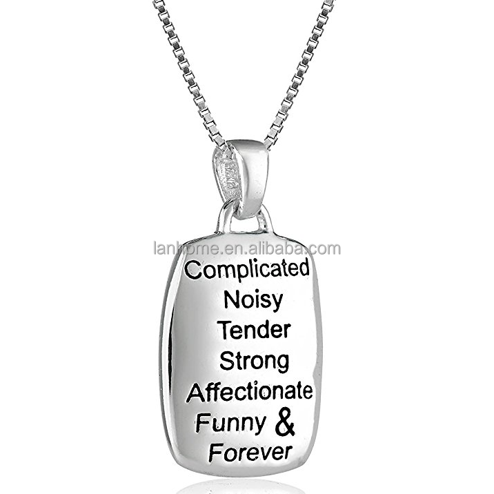 Mother Daughter Engraved 925 Sterling Silver Dog Tag Pendant Necklace