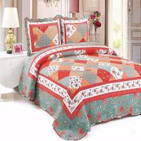 2016 Wholesale fancy simple grid designs pink bedding quilt sets