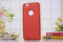 Business Aluminum Frame Cell Phone Genuine Leather Case for iPhone 6 6 Plus 5 5S