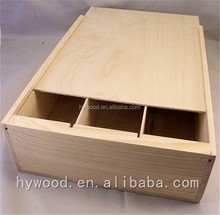 handmade customise bulk western pine sliding lid unfinished 3 bottle slide top wholesale wooden wine boxes box for sale